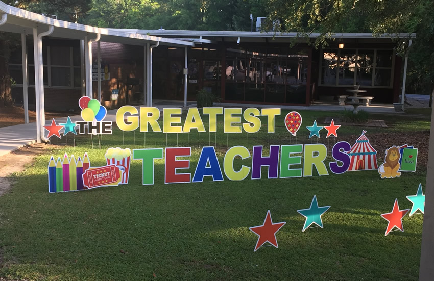 Sign Gypsy company created large individual lettered yard sign that states that CES Loves their Teachers!