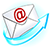 Email Button of envelope with @ symbol